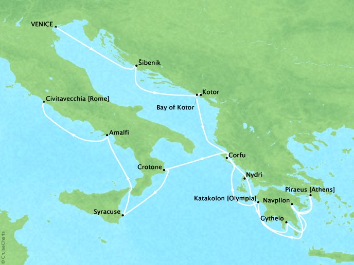 Cruises Seabourn Encore Map Detail Civitavecchia (Rome), Italy to Civitavecchia (Rome), Italy June 24 July 8 2017 - 14 Days - Voyage 7741A