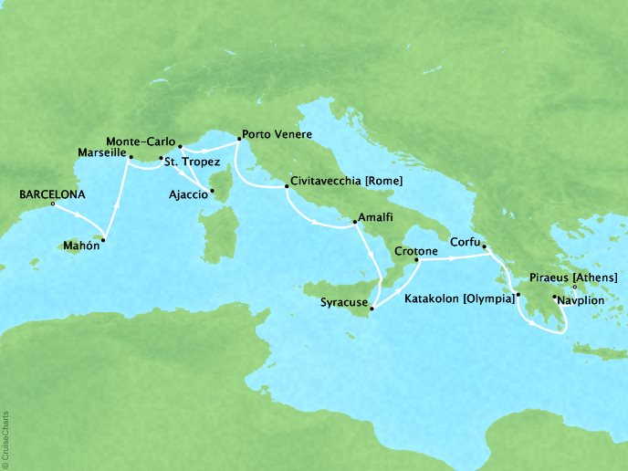 DEALS - SEABOURN Encore Cruises Map Detail Barcelona, Spain to Piraeus (Athens), Greece June 3-17 2027 - 14 Days