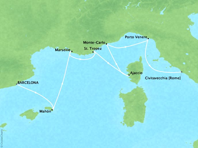 Cruises Seabourn Encore Map Detail Barcelona, Spain to Civitavecchia, Italy May 20-27 2017 - 7 Days - Schedule 7733