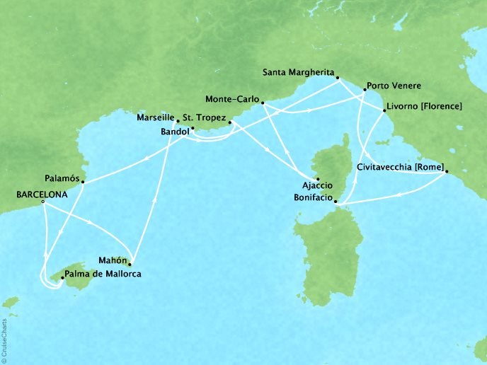 Cruises Seabourn Encore Map Detail Barcelona, Spain to Barcelona, Spain May 20 June 3 2017 - 14 Days - Schedule 7733A