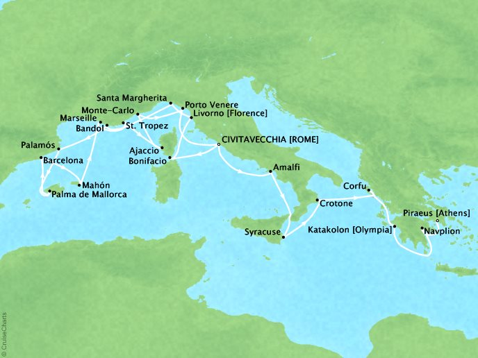 DEALS - SEABOURN Encore Cruises Map Detail Civitavecchia, Italy to Piraeus, Greece May 27 June 17 2017 - 21 Days