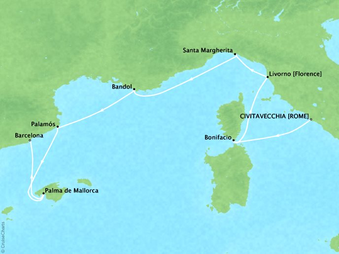 Cruises Seabourn Encore Map Detail Civitavecchia, Italy to Barcelona, Spain May 27 June 3 2017 - 7 Days - Schedule 7734