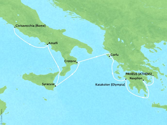Cruises Seabourn Encore Map Detail Piraeus (Athens), Greece to Civitavecchia, Italy May 6-13 2017 - 7 Days - Voyage 7731