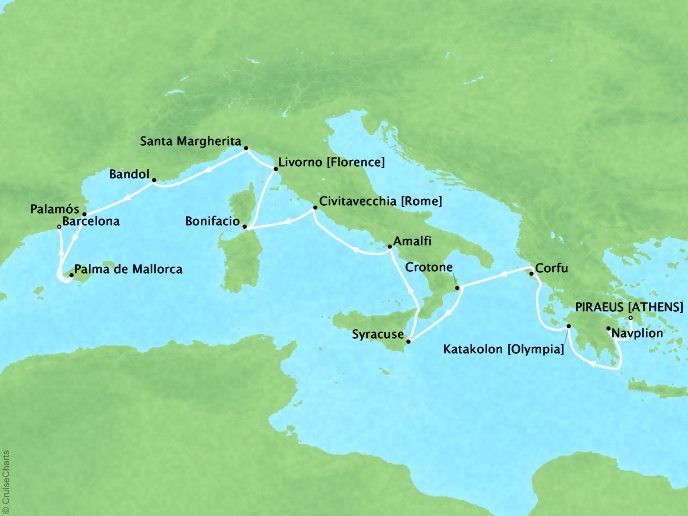 Cruises Seabourn Encore Map Detail Piraeus (Athens), Greece to Barcelona, Spain May 6-20 2017 - 14 Days - Schedule 7731A