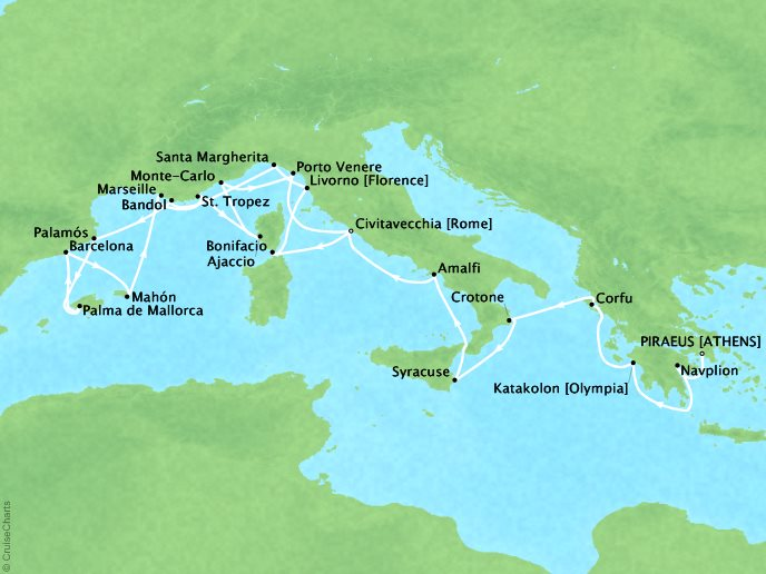 Cruises Seabourn Encore Map Detail Piraeus (Athens), Greece to Civitavecchia, Italy May 6-27 2017 - 21 Days - Schedule 7731B