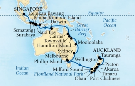 Cruises Seabourn Encore Map Detail Singapore, Singapore to Auckland, New Zealand November 10 December 20 2017 - 40 Days