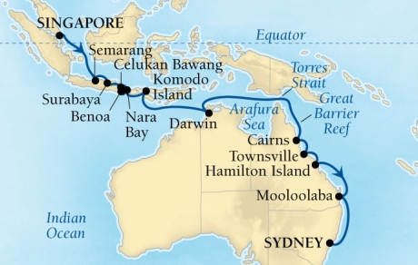Cruises Seabourn Encore Map Detail Singapore To Sydney Australia November 10 December 4