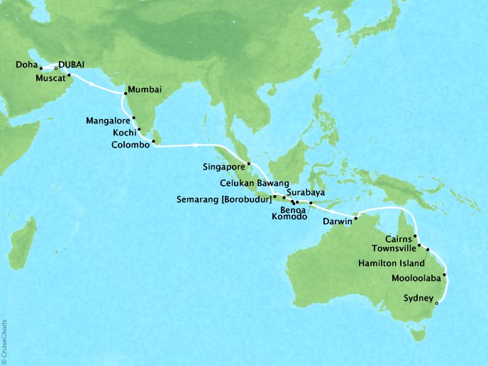 Cruises Seabourn Encore Map Detail Dubai, United Arab Emirates to Sydney, Australia October 25 December 4 2017 - 40 Days