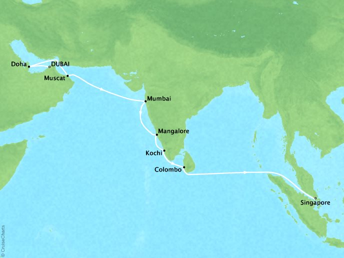 Cruises Seabourn Encore Map Detail Dubai, United Arab Emirates to Singapore, Singapore October 25 November 10 2017 - 16 Days