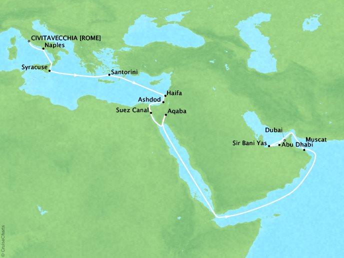 DEALS - SEABOURN Encore Cruises Map Detail Civitavecchia, Italy to Dubai, United Arab Emirates October 4-25 2027 - 21 Days