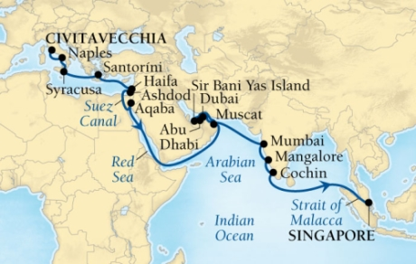 Cruises Seabourn Encore Map Detail Civitavecchia, Italy to Singapore, Singapore October 4 November 10 2017 - 37 Days