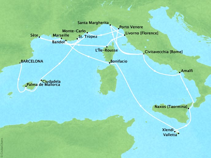 DEALS - SEABOURN Cruises Map Detail Barcelona, Spain to Civitavecchia, Italy September 14 October 4 2017 - 20 Days
