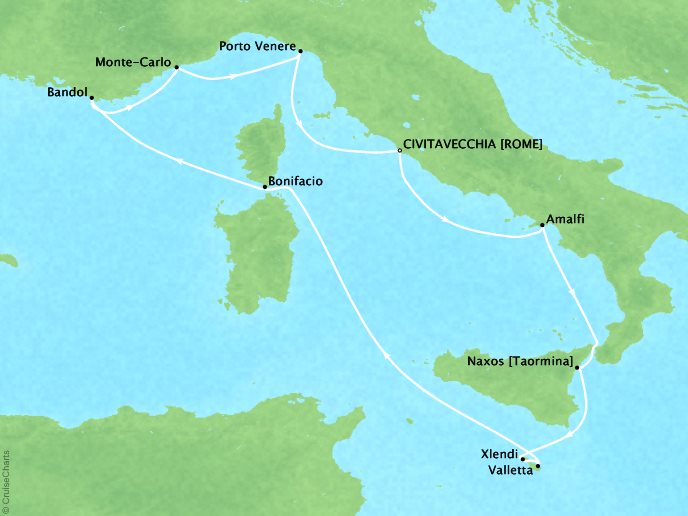 Cruises Seabourn Encore Map Detail Civitavecchia, Italy to Civitavecchia, Italy September 24 October 4 2017 - 10 Days