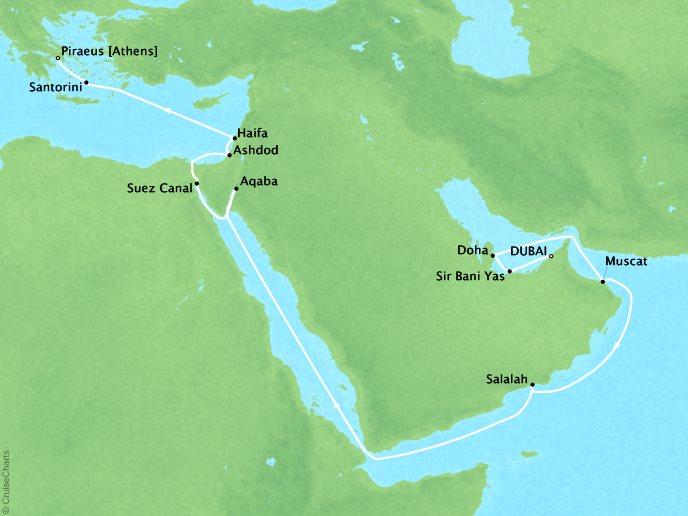 SEABOURN LUXURY CRUISES Cruises Seabourn Encore Map Detail Dubai, United Arab Emirates to Piraeus, Greece April 9-28 2018 - 19 Days