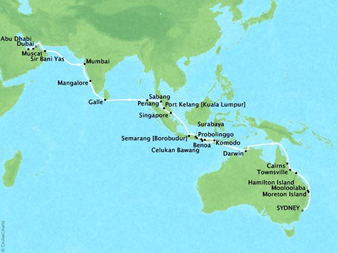 SEABOURN LUXURY CRUISES Cruises Seabourn Encore Map Detail Sydney, Australia to Dubai, United Arab Emirates Ferbruary 22 April 9 2018 - 47 Days