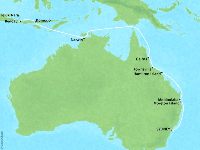 Cruises Seabourn Encore Map Detail Sydney, Australia to Benoa (Bali), Indonesia February 22 March 12 2018 - 19 Days