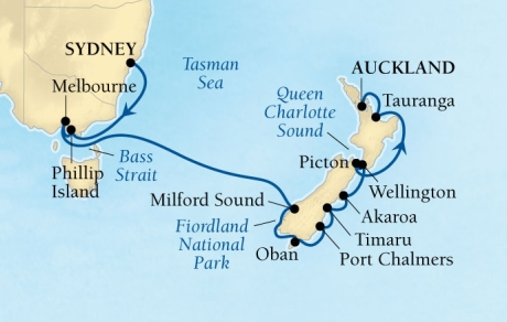 DEALS - SEABOURN Encore Cruises Map Detail Sydney, Australia to Auckland, New Zealand January 21 February 6 2018 - 17 Days