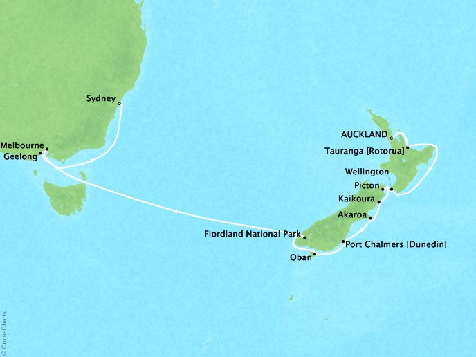 Cruises Seabourn Encore Map Detail Auckland, New Zealand to Sydney, Australia January 5-21 2018 - 17 Days