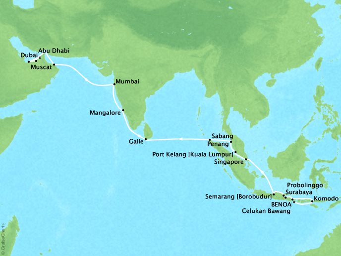Cruises Seabourn Encore Map Detail Benoa (Bali), Indonesia to Dubai, United Arab Emirates March 12 April 9 2018 - 29 Days