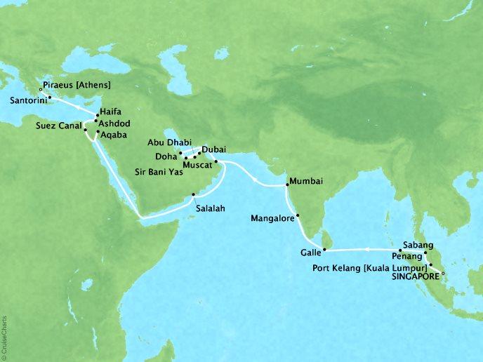 SEABOURN LUXURY CRUISES Cruises Seabourn Encore Map Detail Singapore, Singapore to Piraeus, Greece March 22 April 28 2018 - 38 Days
