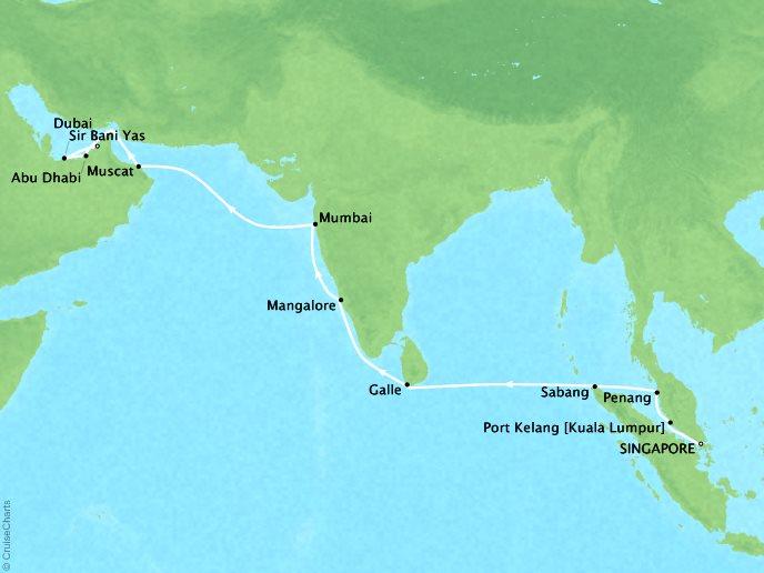 SEABOURN LUXURY CRUISES Cruises Seabourn Encore Map Detail Singapore, Singapore to Dubai, United Arab Emirates March 22 April 9 2018 - 19 Days
