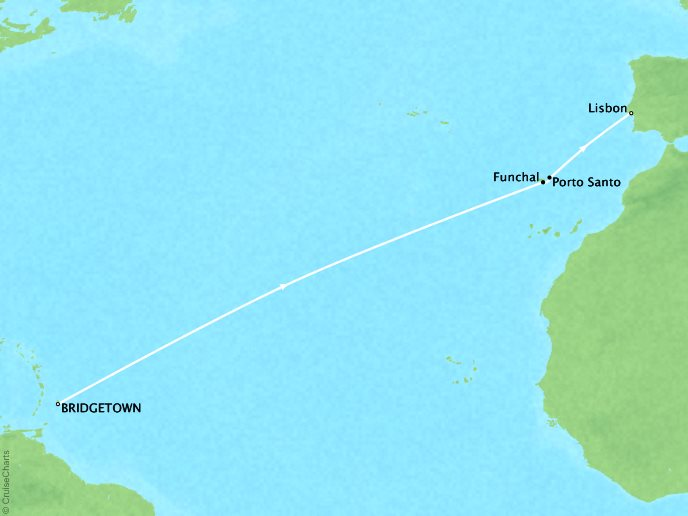 Just Seabourn World Cruises Odyssey Map Detail Bridgetown, Barbados to Lisbon, Portugal April 14-25 2024 - 12 Days