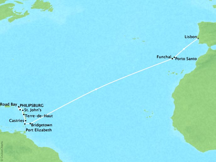SEABOURN LUXURY CRUISES Cruises Seabourn Odyssey Map Detail Philipsburg, Sint Maarten to Lisbon, Portugal April 7-25 2018 - 19 Days