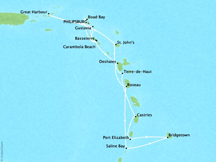 Cruises Seabourn Odyssey Map Detail Philipsburg, Sint Maarten to Philipsburg, Sint Maarten February 10-24 2018 - 15 Days