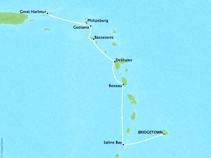 Cruises Seabourn Odyssey Map Detail Bridgetown, Barbados to Philipsburg, Sint Maarten February 17-24 2018 - 7 Days