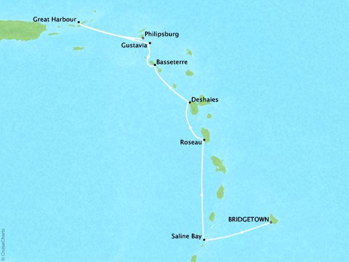 DEALS - SEABOURN Cruises Odyssey Map Detail Bridgetown, Barbados to Philipsburg, Sint Maarten February 17-24 2018 - 7 Days