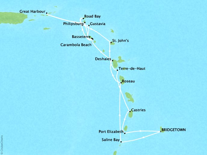 Cruises Seabourn Odyssey Map Detail Bridgetown, Barbados to Bridgetown, Barbados February 17 March 3 2018 - 15 Days