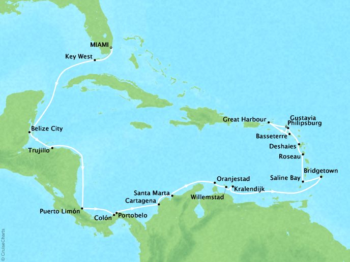 Cruises Seabourn Odyssey Map Detail Miami, FL, United States to Philipsburg, Sint Maarten January 18 February 10 2018 - 24 Days