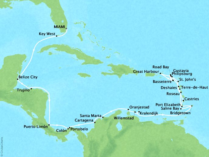 Cruises Seabourn Odyssey Map Detail Miami, FL, United States to Bridgetown, Barbados January 18 February 17 2018 - 31 Days