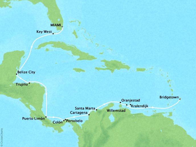 SEABOURN LUXURY CRUISES Cruises Seabourn Odyssey Map Detail Miami, FL, United States to Bridgetown, Barbados January 18 February 3 2018 - 17 Days
