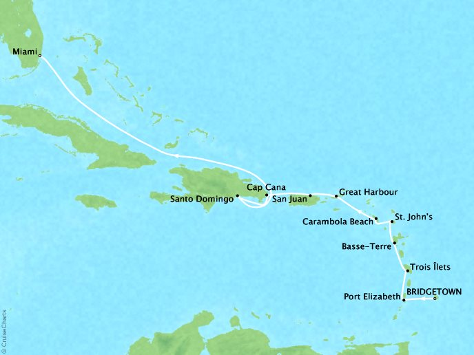 Cruises Seabourn Odyssey Map Detail Bridgetown, Barbados to Miami, FL, United States January 6-18 2018 - 12 Days