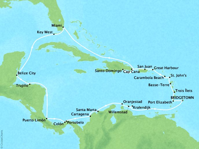 Just Seabourn World Cruises Odyssey Map Detail Bridgetown, Barbados to Bridgetown, Barbados January 6 February 3 2024 - 29 Days
