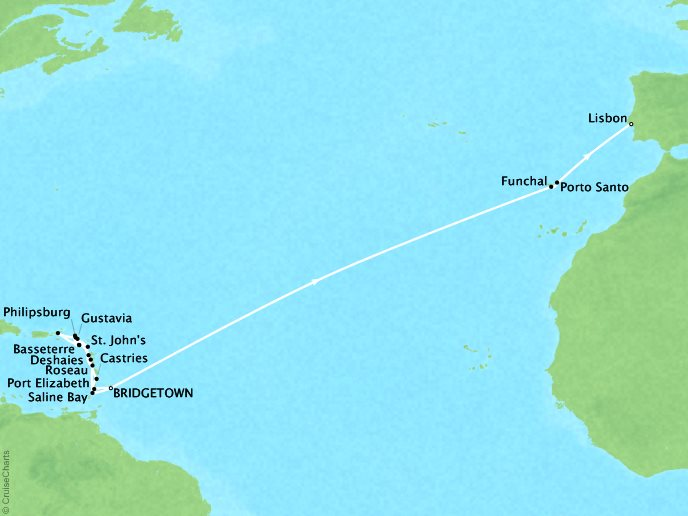 SEABOURN LUXURY CRUISES Cruises Seabourn Odyssey Map Detail Bridgetown, Barbados to Lisbon, Portugal March 31 April 25 2018 - 26 Days