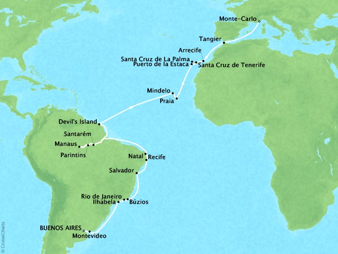 DEALS - SEABOURN Cruises Seabourn Quest Map Detail Buenos Aires, Argentina to Monte Carlo, Monaco February 24 April 10 2018 - 45 Days - Voyage 6820A