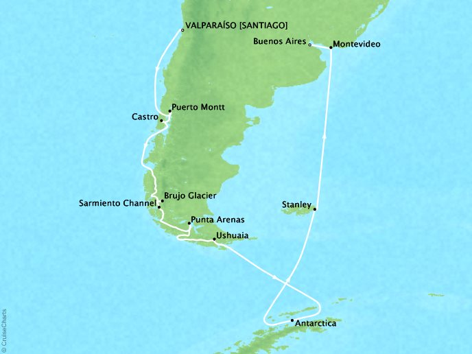 SEABOURN LUXURY CRUISES Cruises Seabourn Quest Map Detail Valparaiso (Santiago), Chile to Buenos Aires, Argentina February 3-24 2018 - 21 Days - Voyage 6816