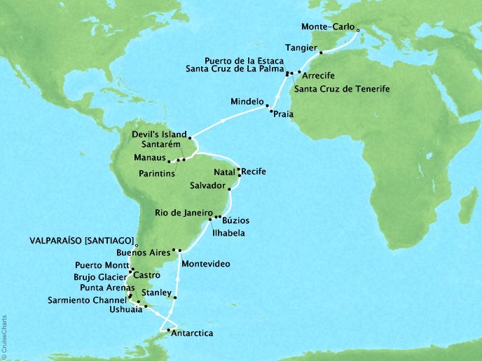 Cruises Seabourn Quest Map Detail Valparaiso (Santiago), Chile to Monte Carlo, Monaco February 3 April 10 2018 - 66 Days - Voyage 6816B