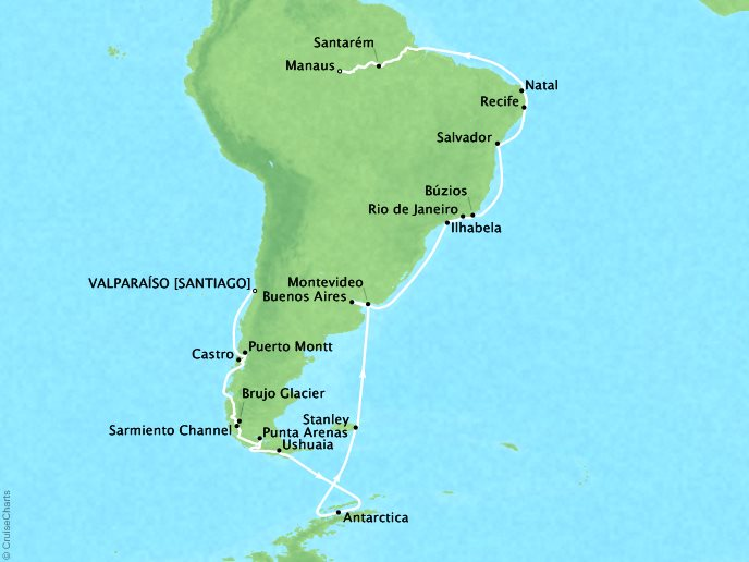 DEALS - SEABOURN Cruises Seabourn Quest Map Detail Valparaiso (Santiago), Chile to Manaus, Brazil February 3 March 17 2018 - 42 Days - Voyage 6816A