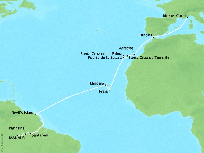 Cruises Seabourn Quest Map Detail Manaus, Brazil to Monte Carlo, Monaco March 17 April 10 2018 - 24 Days - Voyage 6823