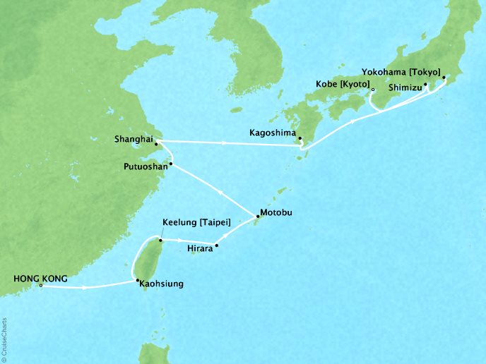 Cruises Seabourn Sojourn Map Detail Hong Kong, China to Kobe, Japan April 23 May 11 2017 - 18 Days - Voyage 5723