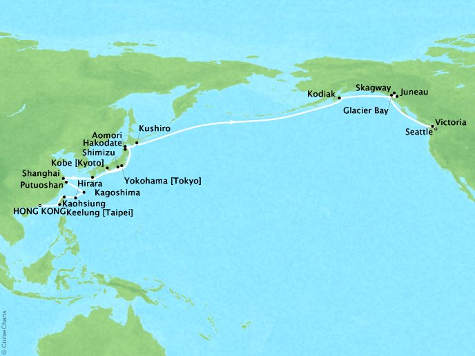 Cruises Seabourn Sojourn Map Detail Hong Kong, China to Seattle, Washington, US April 23 May 31 2017 - 39 Days - Voyage 5723A