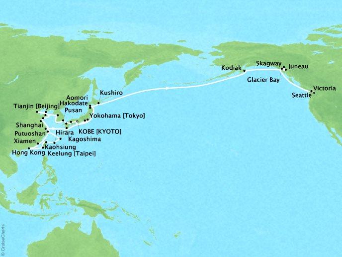 cruises seabourn sojourn map detail kobe an to seattle washington us april 5