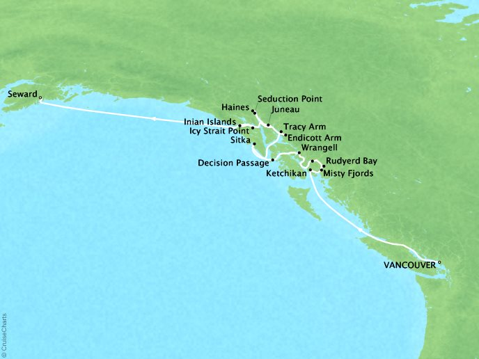 Cruises Seabourn Sojourn Map Detail Vancouver, B.C., CA to Seward (Anchorage), Alaska, US July 21 August 1 2017 - 11 Days - Voyage 5740
