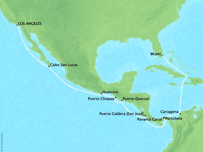 Cruises Seabourn Sojourn Map Detail Los Angeles, CA, United States to Miami, FL, United States November 15 December 3 2017 - 19 Days