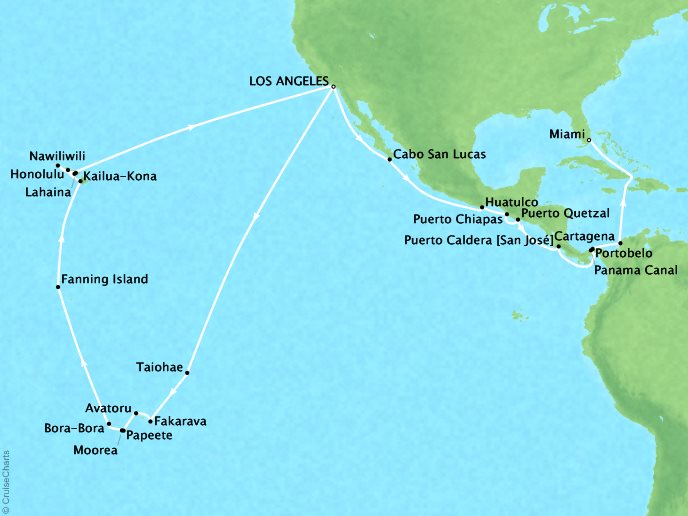 Cruises Seabourn Sojourn Map Detail Los Angeles, CA, United States to Miami, FL, United States October 14 December 3 2017 - 51 Days