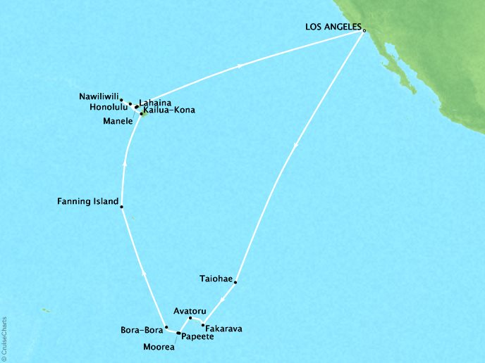 Cruises Seabourn Sojourn Map Detail Los Angeles, CA, United States to Los Angeles, CA, United States October 14 November 15 2017 - 33 Days