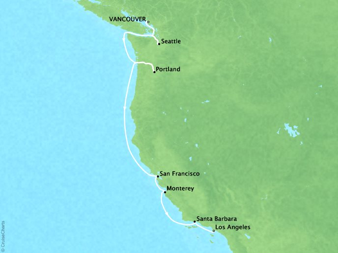 Cruises Seabourn Sojourn Map Detail Vancouver, Canada to Los Angeles, CA, United States October 3-14 2017 - 11 Days
